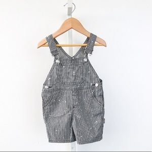 BONPOINT STRIPED SPLATTER PAINT OVERALLS